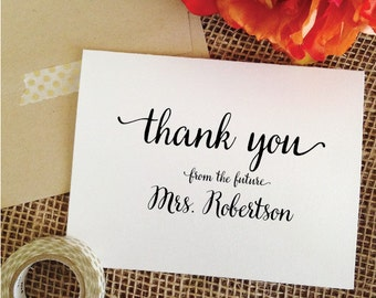 Bridal Shower cards wedding Thank You Card Personalized Wedding Cards Thank Yous From the Future Mrs card Thank you