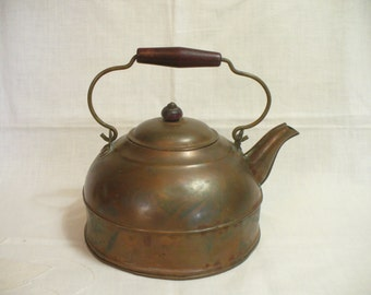 Vintage copper over brass tea kettle with wooden handle - Revere Ware USA - shabby rustic - # HS-TP-006