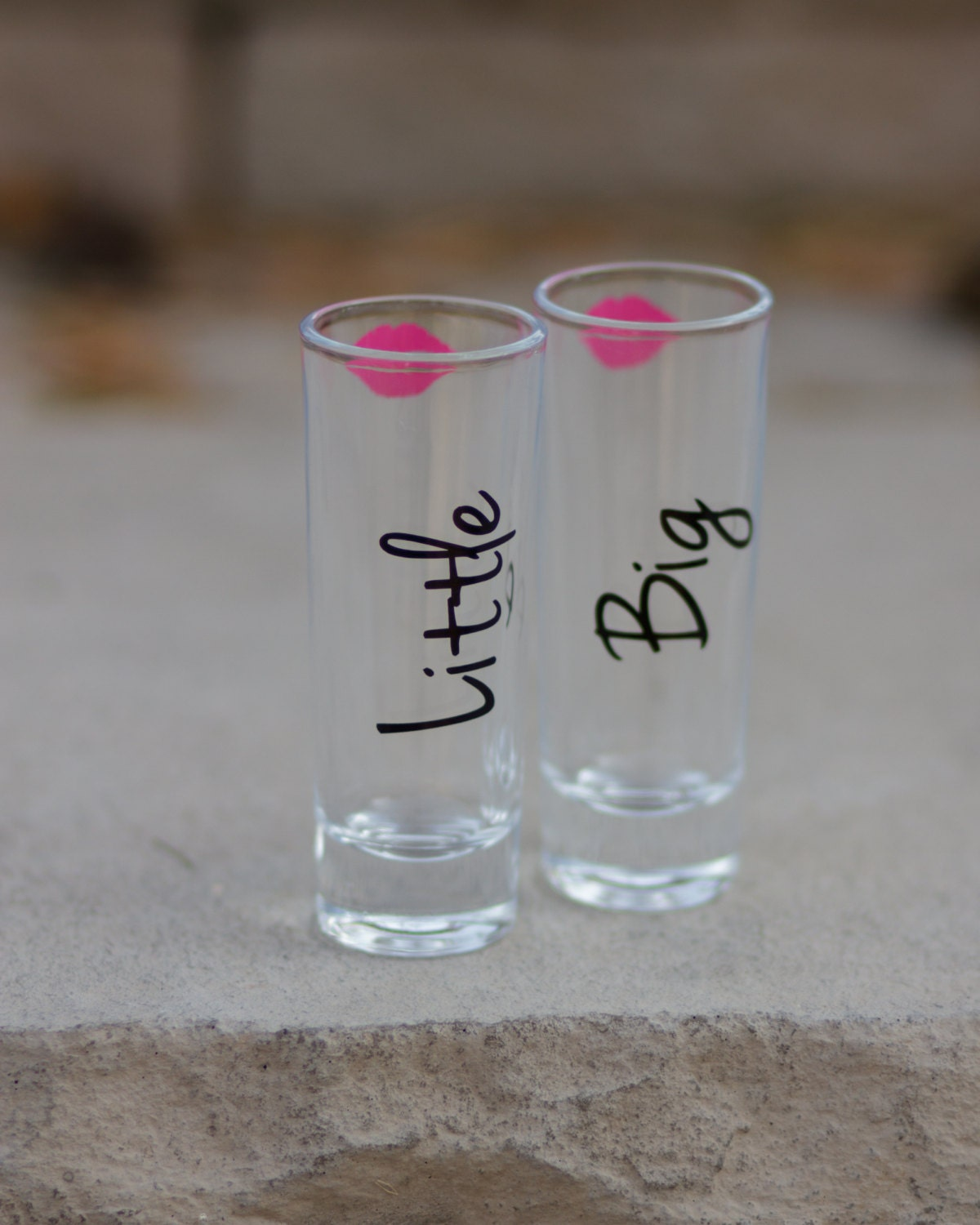 1 shot glass big little sister sorority lips and names big. Black Bedroom Furniture Sets. Home Design Ideas