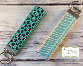 Keychain Wristlet **FREE SHIPPING** Aqua/Navy/Pink Design OR Aqua/Off White Herringbone