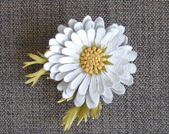 Leather Daisy Flower Hair Clip. Handmade.