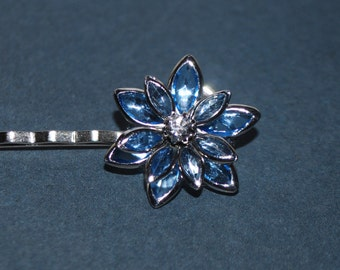 Silver Barrette - blue aqua flowers