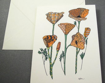 California Poppies Stationery Set - Set of 8 Blank Inside Note Card Set - Orange Flowers