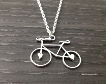 Bicycle Necklace, Sports Jewelry, Cycling Jewelry, Bike Necklace, Tour De France,  Bikers Gift, Silver Bicycle Jewelry, Bike Fanatic Gift