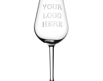 Your Business Logo On A White Wine Glass