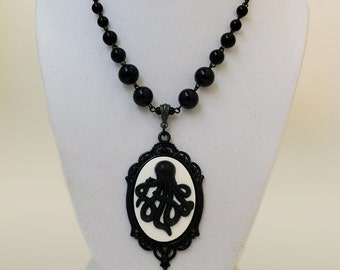 Octopus Kraken Cameo Necklace Gothic Victorian Black White Jewelry H.P. Lovecraft