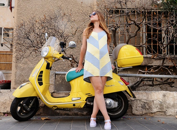 Sale 20% off Blue and yellow Chevron dress, colorful mini dress geometric summer spaghetti straps dress, color block dress, sun dress