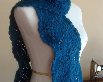 Crocheted lace scarf ocean blue