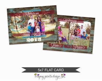 Rustic New Year Card Template - 5x7 Photo Card - Photoshop Template - INSTANT DOWNLOAD or Printable - NY03