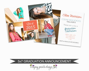 Graduation Announcement Template - 5x7 Digital Photography Photoshop Files - Template for Photographers - GC05 - INSTANT DOWNLOAD
