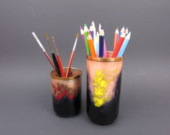vintage black enamel bowl copper jewerly / pencil box storage/ Germany 60s