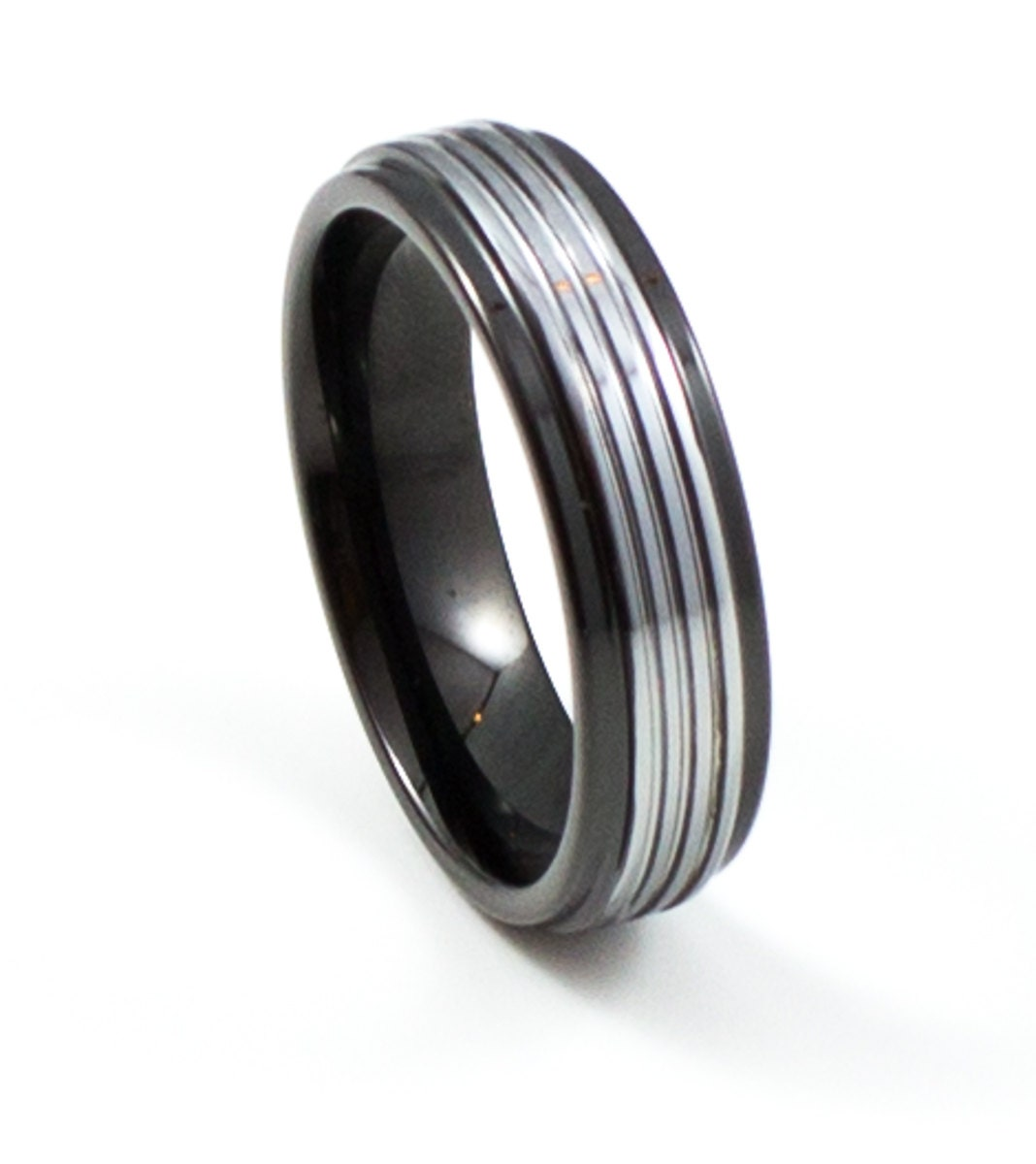 thin black silver s wedding band 6mm s by