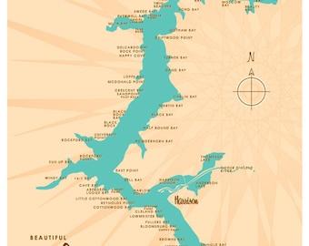 Lake Coeur d'Alene, ID Map Print