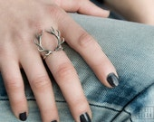 Deer Antler Ring Antique Silver Color Adjustable Ring Horns Wrap Ring Boho Jewelry - FRI001
