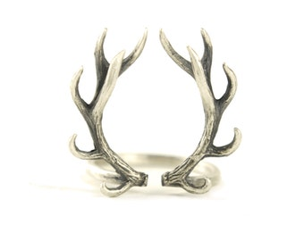 Deer Antler Ring Sterling Silver Adjustable Ring Horns Wrap Ring Boho Jewelry - FRI001 T1