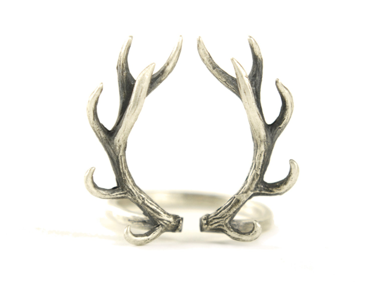 deer antler ring sterling silver adjustable ring horns wrap