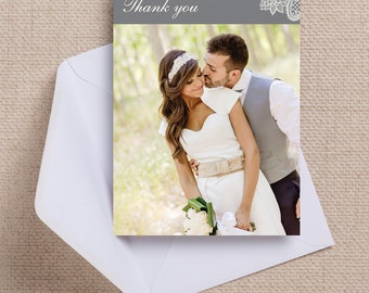 Charcoal Grey and White Vintage Lace Wedding Thank You Photo Note Card