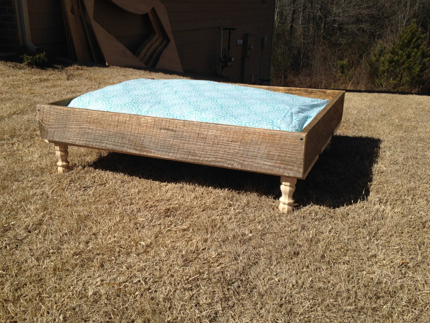 Very Impressive portraiture of Rustic Wooden Pet Bed by FiveSixteenOriginals on Etsy with #308C9B color and 1500x1125 pixels