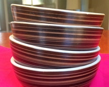 Pyrex Terra bowls Brown Striped Corning Ware Set of Four 70s 1970s seventies vintage