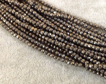 3mm Natural Gold Tone Pyrite Rondelle Beads, approx. 148 beads per strand