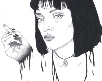 Pulp Fiction Mia Wallace Uma Thurman Quentin Tarantino A5 Art Print Original Illustration Movie Film