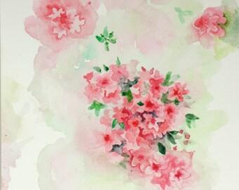 Flower Azaleas Nature Original Watercolor Painting -