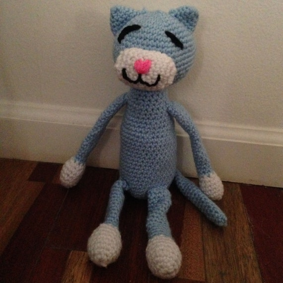 Sky Blue Cuddly Kitty Cat Doll, Gift for Child, Blue Cat Lovey, Childrens Toy, Kids Stuffed Animal, Kids Lovey, Baby Blue Cat, Birthday Gift