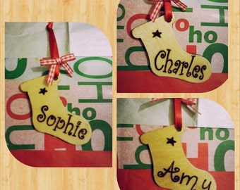 Hand burned (pyrography) personalised any name wooden Christmas stocking decoration gift