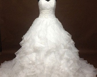 Sweetheart Ruffled  Ball Gown Wedding Dress, Unique Organza Wedding Dress, Strapless Ballgown, Made to Order, Custom Wedding Dresses