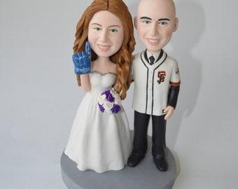 wedding cake topper Baseball cake topper funny cartoon bride & groom figure figurines