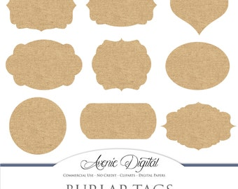 Digital Burlap tags. Scrapbooking printables, fabric, linen, cloth frames, labels for Commercial Use. round, heart, swirl. Instant Download.