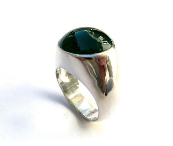 gemstone silver ring statement ring green agate ring