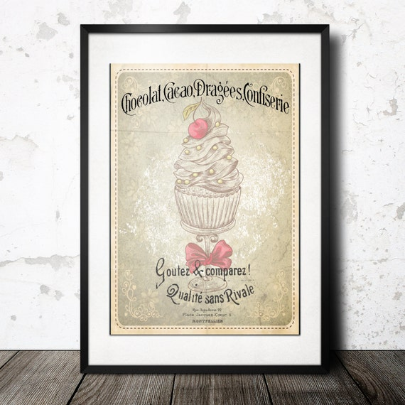 French Pastry Vintage Chic Retro Wall Art Kitchen Art