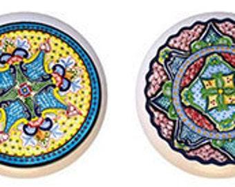 Pastel Talavera Ceramic Knobs Set of 4 for Cabinet or Drawers