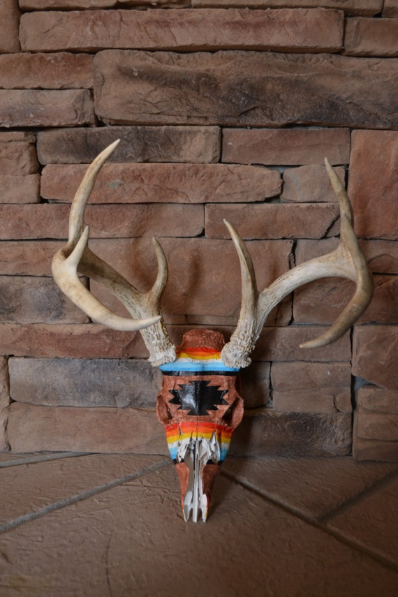 Items Similar To Painted Deer Skull Quot Tribal Quot On Etsy