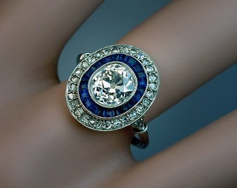 Art Deco 2 Ct Diamond and Sapphire Vintage Engagement Ring