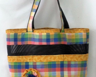 1950's Fabric Yellow Plaid Tote Bag..
