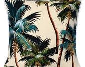 Kailua Designer Tropical Cushion, Palm Trees Beach Island Polynesian Hawaii Chic Coastal