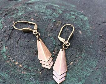 Art Deco Cascading Triangle Dangle Earrings