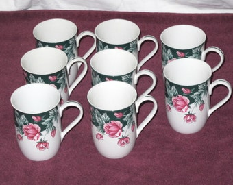 Vintage Arita New Traditions Grande Fleur Coffee Cups Lot of 8 Mint Condition Made in Japan