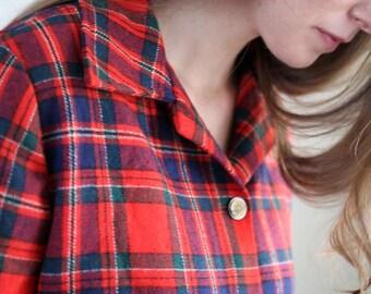Vintage Wool Blazer Christmas Plaid Women's Size M/L