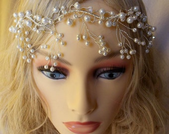 Bride headpiece headdress boho chic style vintage with crystal pearls