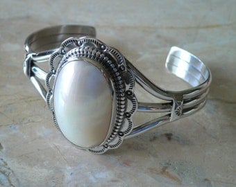 Mother of Pearl Sterling Silver Native American Style Bracelet