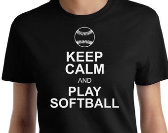 Keep Calm Play Softball T shirt