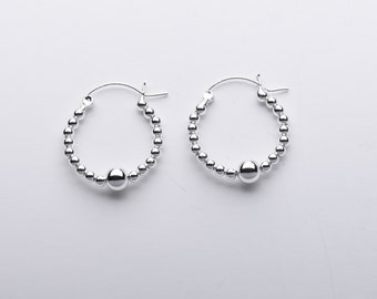 Sterling Silver Hoop Earring with Silver balls