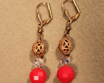 Red and Crystal Filagree Earrings