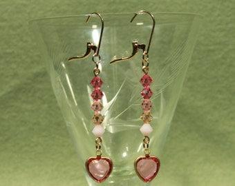 Pink Swarovski Crystal Valentine Earrings