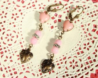 Pink Glass Heart Earrings
