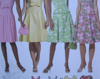 UNCUT Misses / Miss Petite Dress with Bodice and Skirt Variations and Purse - Size 14 to 20 - Simplicity Pattern 4675