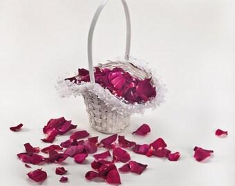 Flower girl basket. flower basket Wedding. Flower Basket, + 5 cups freeze dried red petals.